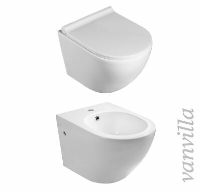 vanvilla Wand Hänge WC Toilette spülrandlos Soft Close Sitz Hänge Bidet Set 8002