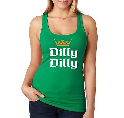 Womens Dilly Dilly St. Patricks Day Drink Shamrock Clover Beer Racerback Tanktop
