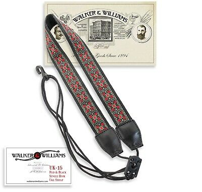 Walker & Williams UK-15 Red & Black Woven Adjustable Uke Strap Fits All Ukes for sale  Shipping to India