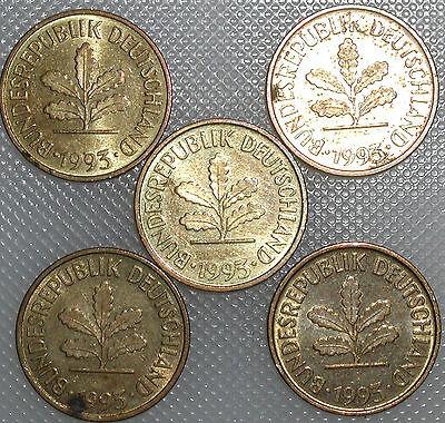 5 Pfennig 1993 A D F G J Kompletter Satz