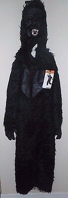 NEW NWT YOUTH SIZE LARGE BLACK COMPLETE GORILLA HALLOWEEN COSTUME MASK HAIRY WOW - Youth Gorilla Costume