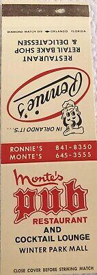 Matchbook Cover Monte's Pub Restaurant Winter Park Mall Ronnie's (Monte Mall)