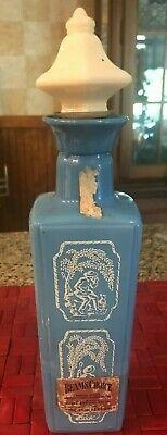 VTG w/LABELS Jim Beam's Choice SKY BLUE MILK GLASS Bottle Decanter Shepherd Dog