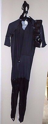 mens size small THE DARK KNIGHT RISES HALLOWEEN COSTUME JUMPSUIT BELT EYE MASK @](Size Small Mens Halloween Costumes)