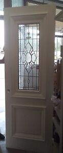 EX DISPLAY door 2340 X 820 GLASS TIMBER  FRONT ENTRY STAINED GLASS D60