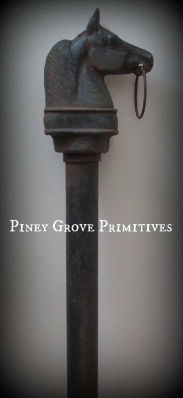 ANTIQUE HORSE HITCHING POST FOUNDRY CAST IRON ARCHITECTURAL RURAL RELIC AAFA
