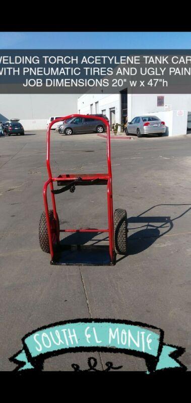 Welding Cart Hauls Welding Tanks Torch Equipment, Red Steel