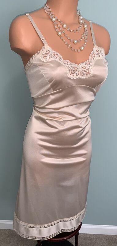 Vtg Shell Pink 38 40 Silky Nylon Full Slip Nightgown Dress Adonna JCPenny USA