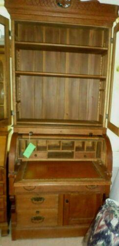 LQQK! Antique Oak Eastlake Desk And Hutch