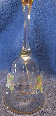 """Collectible Bell: 6"""" Clear Glass: Happy Anniversary: (R5S2)"""