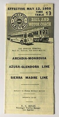 Vintage 1950 Pacific Electric Rail Motor Coach Timetable 13 Arcadia Sierra Madre