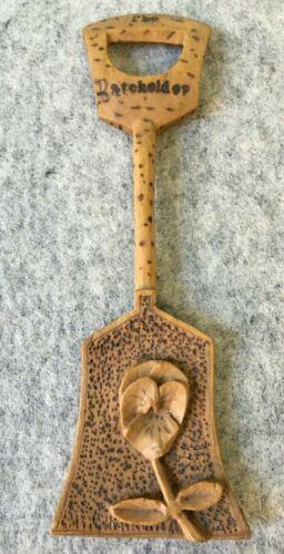 Primitive Hand Carved Wood Floral Spoon Souvenir Old Orchard Maine Vintage