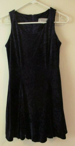 Vintage 90s Crushed velvet dark blue lace up dress short DBY