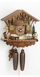 Cuckoo Clock Black Forest house with moving beer drinkers KA 884 NEW
