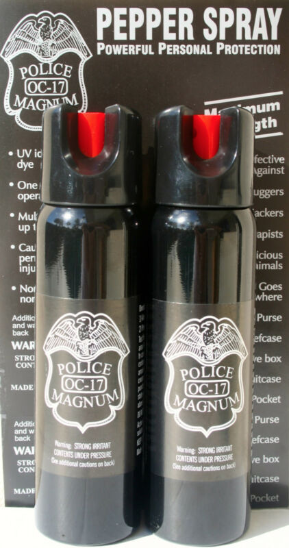 2 PACK Police Magnum pepper spray 4oz Safety Lock Defense Security Protection