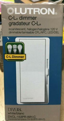 Lutron Diva CL DVCL-153PR-WH-C Single/3-Way 150W CFL/ LED 600W, Dimmer, White