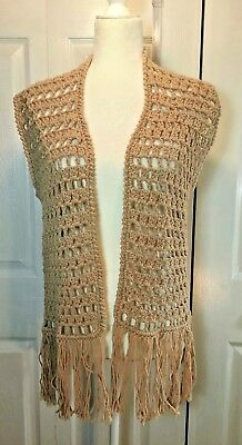 Bohemian Style Hippie Chic Crocheted Sweater Vest BoHo Festival Clothing Beige