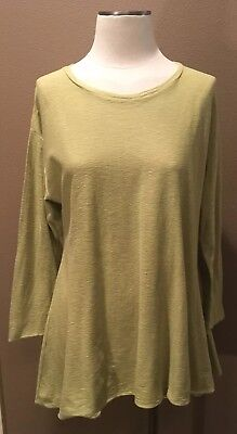 CUT LOOSE L TOP BLOUSE CHARTREUSE GREEN 3/4 SLEEVES COTTON SCOOP NECKLINE