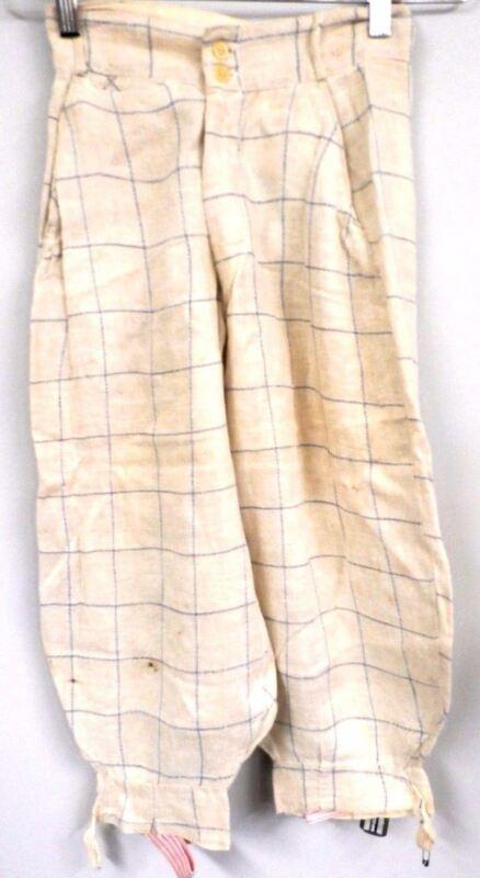 Antique Linen Knickers 1920s Pants Blue Plaid   XS Womens Children Rare Vintage