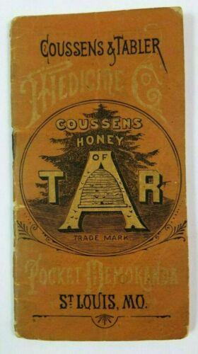 1886 COUSSENS & TABLER Quack Medicine ST LOUIS BOOKLET Advertising HONEY OF TAR