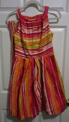 CHETTA B. MULTI-COLOR STRIPED PRINT SLEEVELESS PLEATED SLEEVELESS DRESS size 4 - Chetta Print