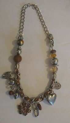 Vintage Rhinestone Statement Necklace Steam Punk Chunky Charms Woven String