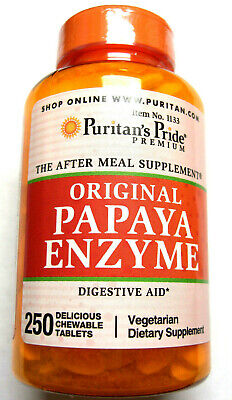 Chewable Papaya Digestive Enzyme Aid Papain Amylase PIlls 250 Vegetarian Tablets