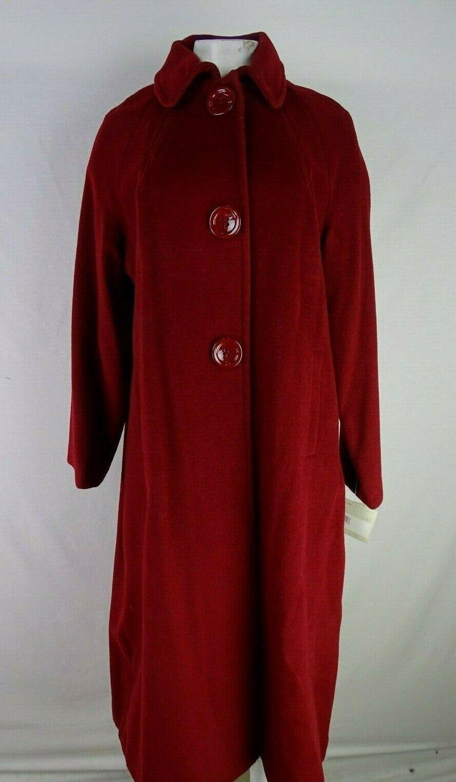 Liz Claiborne Petite Silk Wool Blend Coat Berry Red