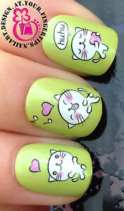 NAIL ART WRAP WATER TRANSFER DECALS CUTE WHITE KITTY CATS/KITTENS/HEARTS #45