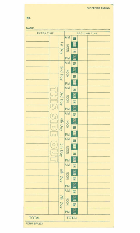Employee Time Card - Pack of 250