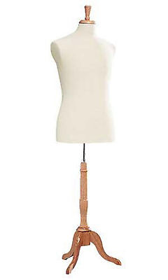 Male Man Dressmaker Seamstress Dress Form Off White Mannequin Tailor Stand