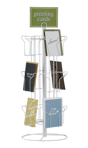 "Greeting Card Rack Rotating Spins 12 Pocket White 5"" x 7 Cards 25"" x 12"" Counter"
