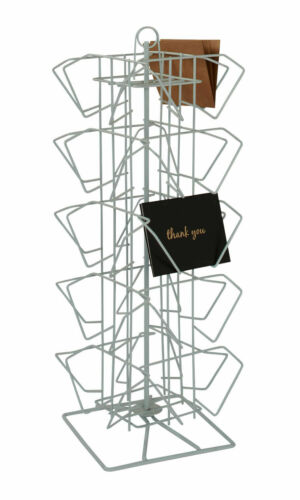 """Postcard Rack Counter 20 Pocket Holds 100 4"""" H x 6"""" W Cards Rotating  Spinner"""