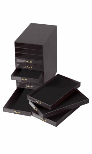 "Jewelry Storage Organizer Case Cabinet 10 Drawer Black Faux Leather 14"" x 16"""