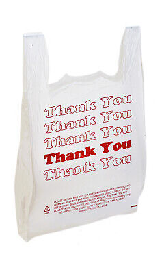 Large Plastic Thank You Bags T-shirt Bags 18x8x30 - Case Of 500