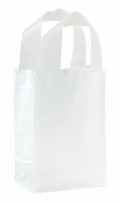 Small Clear Frosted Plastic Shopping Bags - 5