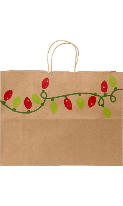 """Large Holiday Lights Paper Shopping Bags  16""""x 6""""x 12 1/2""""- Case of 100"""