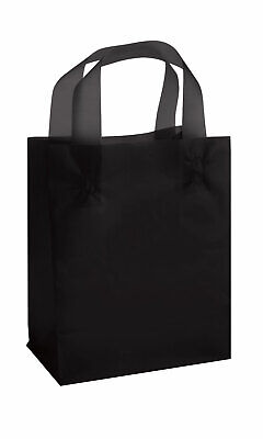 Medium Black Frosted Plastic Shopping Bags - 8 X 5 X 10 - Case Of 100