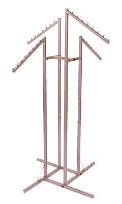 4-way Clothing Rack Rose Gold Slant Arm Garment Retail Display 48 - 72 H Adjust