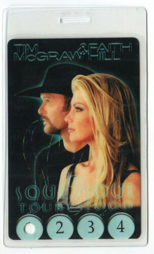 TIM McGRAW and FAITH HILL 2000 Tour Laminate Backstage Pass!!! concert stage