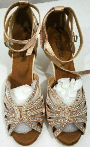 TT Dancewear Champagne Rhinestone Enhanced Social Dance Shoes Women