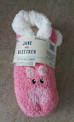 Jane & Bleecker Critter Ballerinas Plush Fill Lined Pig Slipper Socks - UK 2-8