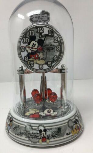 Mickey Mouse Mantle Anniversary Clock Glass Dome Pendulum