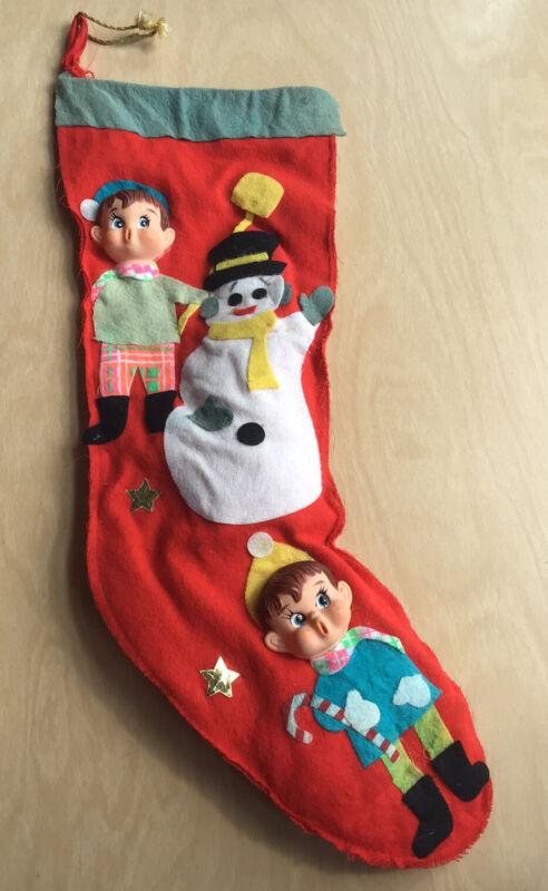 Vintage Elf on Shelf Pixie Nostalgic Christmas Stocking Red Felt Plastic Faces