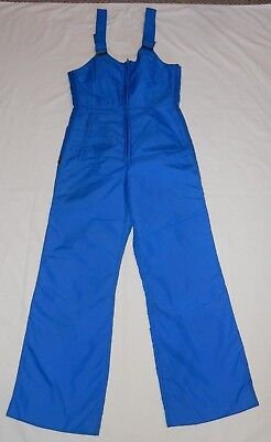 79d20f0a37 VINTAGE 70 s Sportscaster Womens Ski Snow Suit Bibs Retro Blue Large Medium  EUC