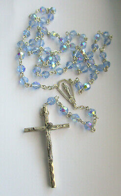 Beautiful Blue Crystal Rosary Beads (Catholic) with Silver Cross/Blessed Mary