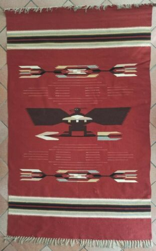 """Old Large Chimayo Blanket/Rug (90"""" inches) - Rio Grande - Native American"""
