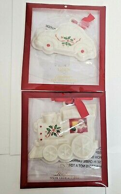 Lenox Holiday Train & Car Holly Cookie Press NEW w/ Sugar Cookie Recipe Set of 2