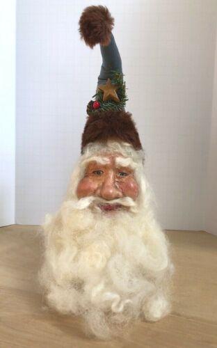 "Vintage 1991 BJ Wann Designs Handmade Christmas Folk Art Santa Head Figure 10"""