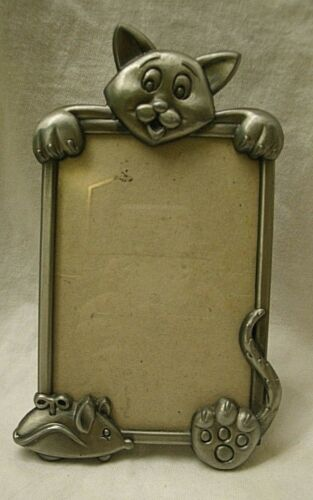 vintage Pewter Cat with Toy Mouse Picture Frame 1980s stand flap kitten kitty